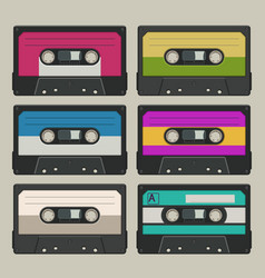 Audio tapes set on grey vector