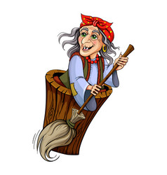 Baba yaga witch from russian folk tales vector