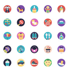 Baby and kids flat icons pack vector