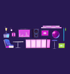 Bar or night club furniture and stuff isolated set vector