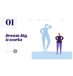 Big dream landing page character has life goal vector