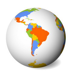 blank political map of south america earth globe vector image