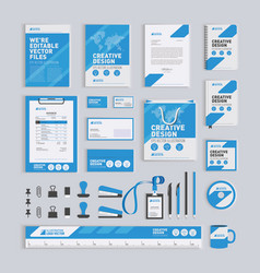 Blue geometric corporate identity design template vector