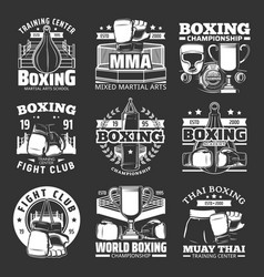 boxing icons muay thai kickboxing fight club vector image