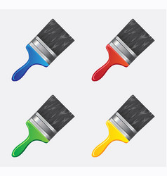 brush icon in different colors vector image