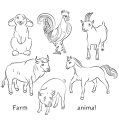 Bull cock goat horse pig rabbit vector image