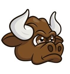 Cartoon angry bull head 2 vector image