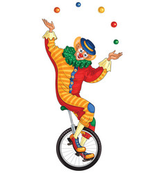 Cartoon circus clown juggling balls on unicycle vector