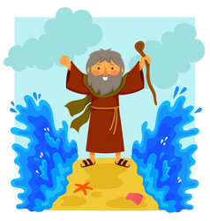 cartoon moses parting the red sea vector image