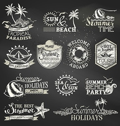 Chalk summer and vacation labels and emblems vector