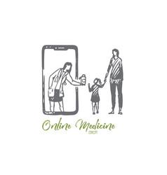 child doctor online medicine mobile phone vector image