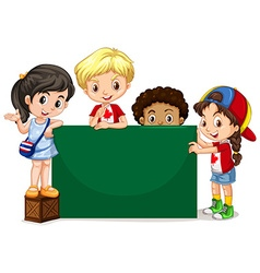 Children standing by the green board vector image