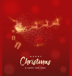Christmas gold glitter santa claus greeting card vector