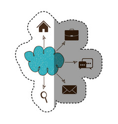 Color cloud icons network service connection vector