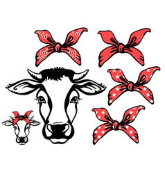 cow head with red bandanas black graphic vector image