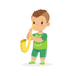 cute little boy playing trumpet young musician vector image