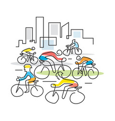 Cyclists in a city line art vector
