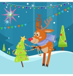 Deer in Scarf Decorating Christmas Tree at Snow vector image