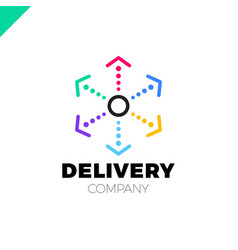 Delivery six arrow logo circle in middle and dot vector