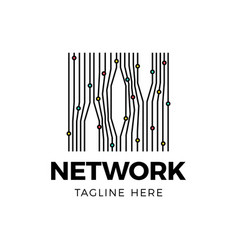digital network block chain logo technology icon vector image
