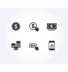 Dollar target euro currency and tips icons buy vector