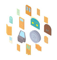door icons set isometric 3d style vector image