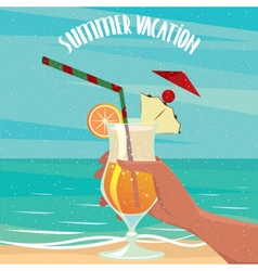 Exotic cocktail on the background of the sea vector image