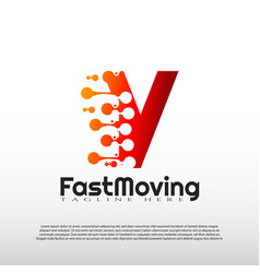 Fast moving logo with initial v letter concept vector