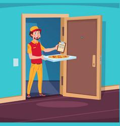 Food delivery concept cartoon guy deliver vector