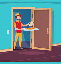 food delivery concept cartoon guy deliver with vector image