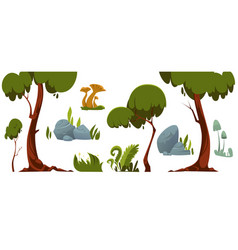 forest landscape elements trees grass stones vector image