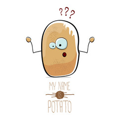 funny cartoon cute brown potato isolated on vector image
