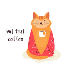 funny sleepy cat in blanket with a cup coffee vector image