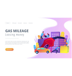 Gas mileage and losing money landing page vector