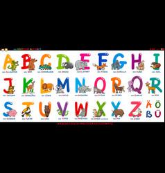 german alphabet with cartoon animals set vector image