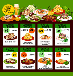 German cuisine menu with prices and half discount vector
