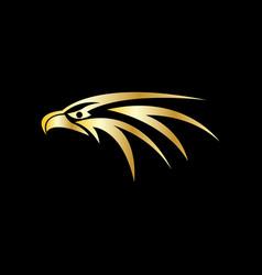 gold eagle head logo vector image