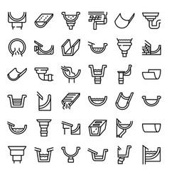 Gutter icons set outline style vector