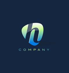 H letter logo oval shape modern design vector