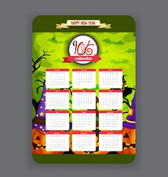 Halloween pumpkins green background Calendar 2016 vector