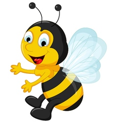 happy Bee cartoon flying vector image