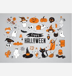 Happy halloween stickers icons elements vector