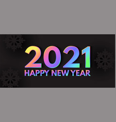 happy new 2021 year elegant design with neon vector image