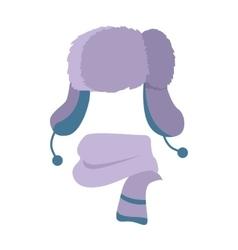 Hat Winter Warm Violet Headwear and Woolen Scarf vector