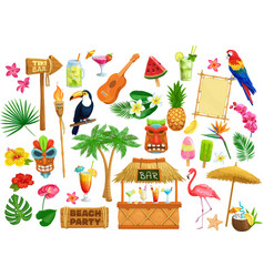 Hawaiian beach party icons vector