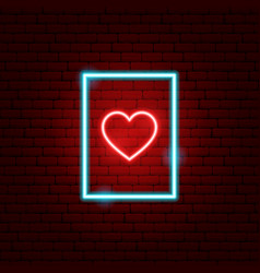 heart postcard neon sign vector image