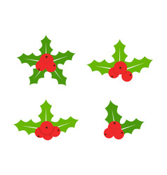 holly berries icon collection merry christmas vector image