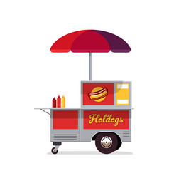 Hot dog street cart fast food stand vendor vector