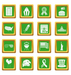 Independence day flag icons set green vector