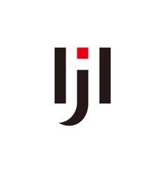 letter hj geometric negative space logo vector image
